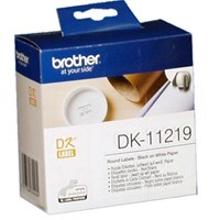 Brother DK Labels DK-11219 (12mm Diameter) Round Continuous Paper Labels (Black On White) 1 Roll