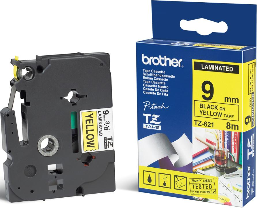 Black Friday Brother TZe-621 Laminated 9mm Tape Cassette Black on Yellow