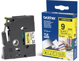 Brother P-touch TZe-621 (9mm x 8m) Black On Yellow Laminated Labelling Tape