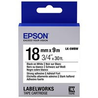 Epson LK-5WBW (18mm x 9m) Strong Adhesive Label Cartridge (Black on White) for LabelWorks Label Makers