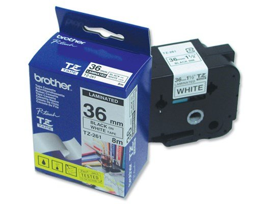 Brother TZe-261 (36mm x 8m) Black On White Gloss Laminated Labelling Tape