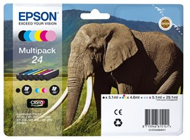 Epson Elephant 24 6 Colour Multipack Claria Photo HD Ink Cartridges (Black, Yellow, Cyan, Magenta, Light Magenta, Light Cyan) for Epson Expression Photo Printers