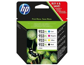 HP 932XL/933XL (Yield: 1,000 Black/825 Colour Pages) Black/Cyan/Magenta/Yellow Ink Cartridge Pack of 4