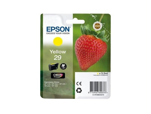 Epson Strawberry 29 T2984 (Yield 180 pages) Claria Home Yellow 3.2ml Ink Cartridge (Blister Pack)
