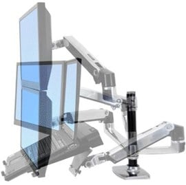 Ergotron LX Dual Stacking Arm (Polished Aluminum)