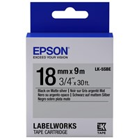 Epson LK-5SBE (18mm x 9m) Label Cartridge (Black on Matte Silver) for LabelWorks Label Makers
