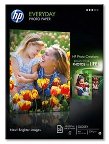 HP Everyday (A4) Glossy Photo Paper 200g/m2 (White) 1 x Pack of 25 Sheets