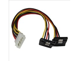 StarTech.com 12 inch LP4 to 2x Right Angle Latching SATA Power Y Cable Splitter 4 Pin Molex to Dual SATA