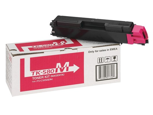 Kyocera TK-580M (Yield: 2,800 Pages) Magenta Toner Cartridge