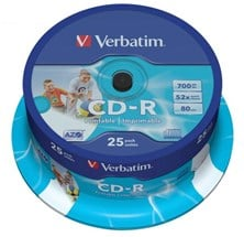 Verbatim CD-R 700MB 80 Minute 52x DataLifePlus Printable/Super Azo