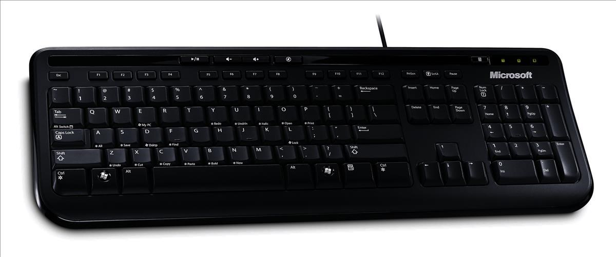 microsoft 600 usb wired keyboard black anb 00006 ccl computers. Black Bedroom Furniture Sets. Home Design Ideas