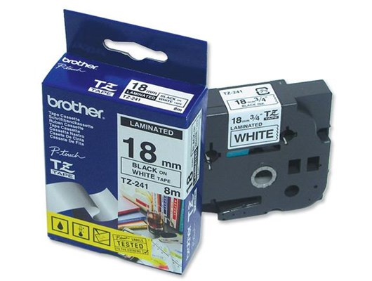 Brother TZe-241 (18mm x 8m) Black On White Laminated Labelling Tape