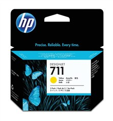 HP 711 (3 Pack) Yellow Ink Cartridge (29ml) for Designjet T120/T520 Large Format Inkjet Printers