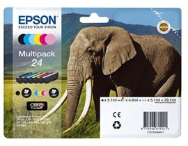 Epson Elephant 24 (Yield: 240 Black/360 Colour Pages) Black/Cyan/Magenta/Yellow/Light Cyan/Light Magenta Ink Cartridge Pack of 6
