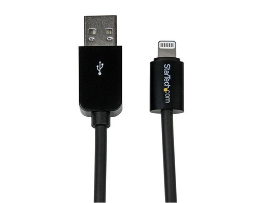StarTech.com 0.3m (11 inch) Short Black Apple 8-pin Lightning Connector to USB Cable for iPhone, iPod, iPad