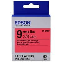 Epson LK-3RBP (9mm x 9m) Label Cartridge (Black on Red) for LabelWorks Label Makers
