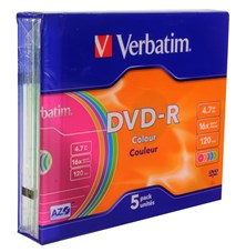 Verbatim DVD-R Colour 4.7GB 16x Slim Case (5 Pack)