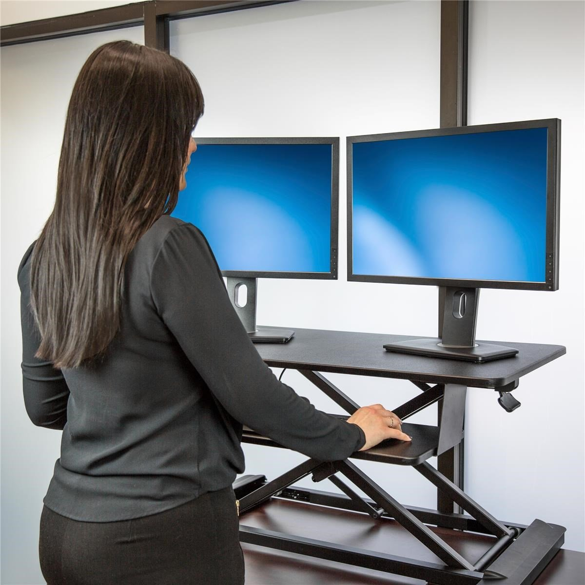 Startech Com Sit Stand Desk Converter With 35 Inch Work