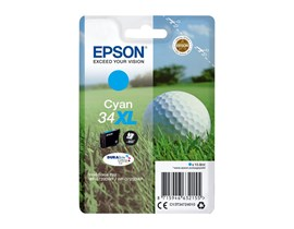 Epson Golf Ball 34XL T3472 (Yield 950 pages) DURABrite Ultra Cyan 10.8ml Ink Cartridge