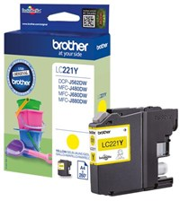Brother LC-221Y (Yield: 260 Pages) Yellow Ink Cartridge