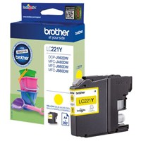 Brother LC221Y (Yield: 260 Pages) Yellow Ink Cartridge