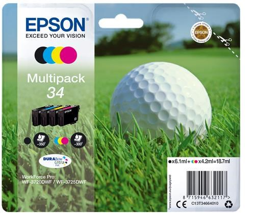 Epson Golf Ball 34 T3466 (Yield 300 pages) DURABrite Ultra Multipack (Black 6.1ml and Cyan/Magenta/Yellow 4.2ml) Ink Cartridges