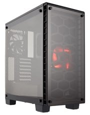 Corsair Crystal Series 460X Compact ATX Mid-Tower Case (Black) with RED LED Fan