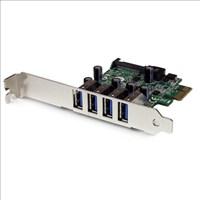 StarTech.com 4 Port PCI Express PCIe SuperSpeed USB 3.0 Controller Card Adaptor with SATA Power (Low Profile)