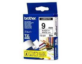 Brother P-touch TZ-221 (9mm x 8m) Black On White Gloss Laminated Labelling Tape