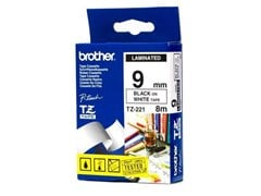 Brother P-touch TZ-221 (9mm x 8m) Black on White Gloss Laminated Labelling Tape for P-Touch