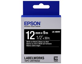 Epson LK-4BWV (12mm x 9m) Label Cartridge (White on Black) for LabelWorks Label Makers