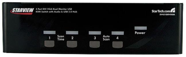 StarTech com 4-Port DVI VGA Dual Monitor KVM Switch USB with Audio and USB  2 0 Hub