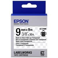 Epson LK-3TBN (9mm x 9m) Label Cartridge (Black on Transparent) for LabelWorks Label Makers