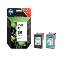 HP 350/351 (Yield: 200 Black/170 Colour Pages) Black/Cyan/Magenta/Yellow Ink Cartridge Pack of 2