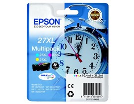 Epson Alarm Clock 27XL T2715 DURABrite Ultra Multipack 10.4ml Ink Cartridge (Cyan/Magenta/Yellow) Blister Pack with RF Alarm