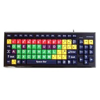 Accuratus Monster2 Upper Case Mixed Colour USB Learning Keyboard with Extra Large Keys and 2 Port USB 2.0 Hub