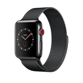 Apple Watch Series 3 (38mm) Space Black Stainless Steel Watch Case 16GB GPS + Cellular with Space Black Milanese Loop