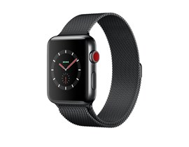 Apple Watch Series 3 (38mm) Smartwatch with Space Black Stainless Steel Case (16GB) GPS + Cellular and Space Black Milanese Loop Strap