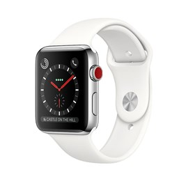 Apple Watch Series 3 (42mm) Stainless Steel Watch Case 16GB GPS + Cellular with Soft White Sport Band