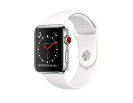 Apple Watch Series 3 (42mm) Smartwatch with Stainless Steel Case (16GB) GPS + Cellular and Soft White Sport Band