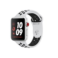 Apple Watch Series 3 (42mm) Smartwatch with Silver Aluminium Case (16GB) GPS + Cellular and Pure Platinum/Black Nike Sport Band