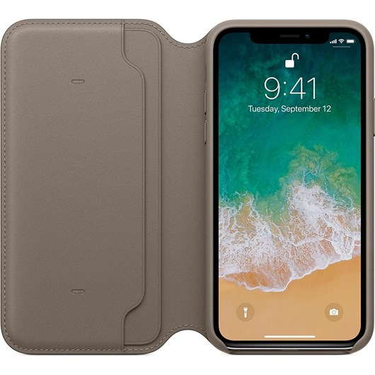 Apple Leather Folio Case (Taupe) for iPhone X