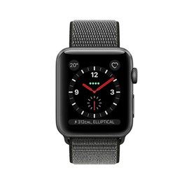 Apple Watch Series 3 (38mm) Space Grey Aluminium Watch Case 16GB GPS + Cellular with Dark Olive Sport Loop