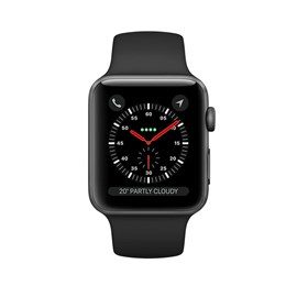 Apple Watch Series 3 (38mm) Space Grey Aluminium Watch Case 8GB GPS with Black Sport Band