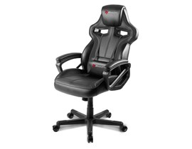 Arozzi Milano Gaming Leather High Back Chair (Black Upholstery with Wood Frame) with Adjustable Arms and Headrest