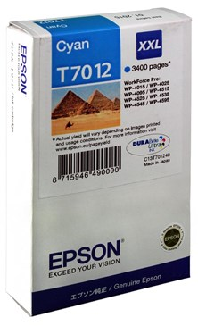 Epson T7012 XXL (Yield 3400) Extra High Capacity Ink Cartridge (Cyan)