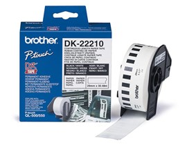 Brother DK Labels DK-22210 (29mm x 30.48m) Continuous Paper Labelling Tape (Black On White) 1 Roll