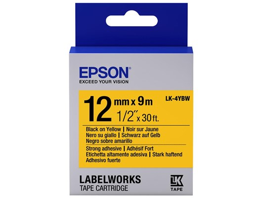 Epson LK-4YBW  (12mm x 9m) Strong Adhesive Label Cartridge (Black on Yellow) for LabelWorks Label Makers