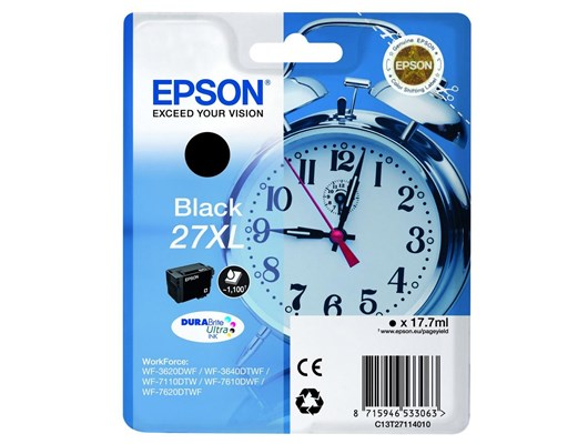 Epson Alarm Clock 27XL (17.7ml) DURABrite Ultra Ink Cartridge (Black) Blister with RF Alarm for WorkForce WF-3620DWF/WF-7610DWF/WF-3640DTWF/WF-7620DTWF/WF-7110DTW Printers