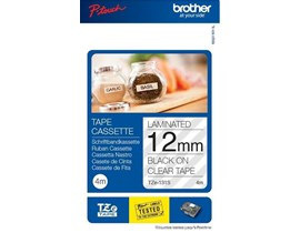 Brother P-touch TZe-131S (12mm x 4m) Black On Clear Labelling Tape